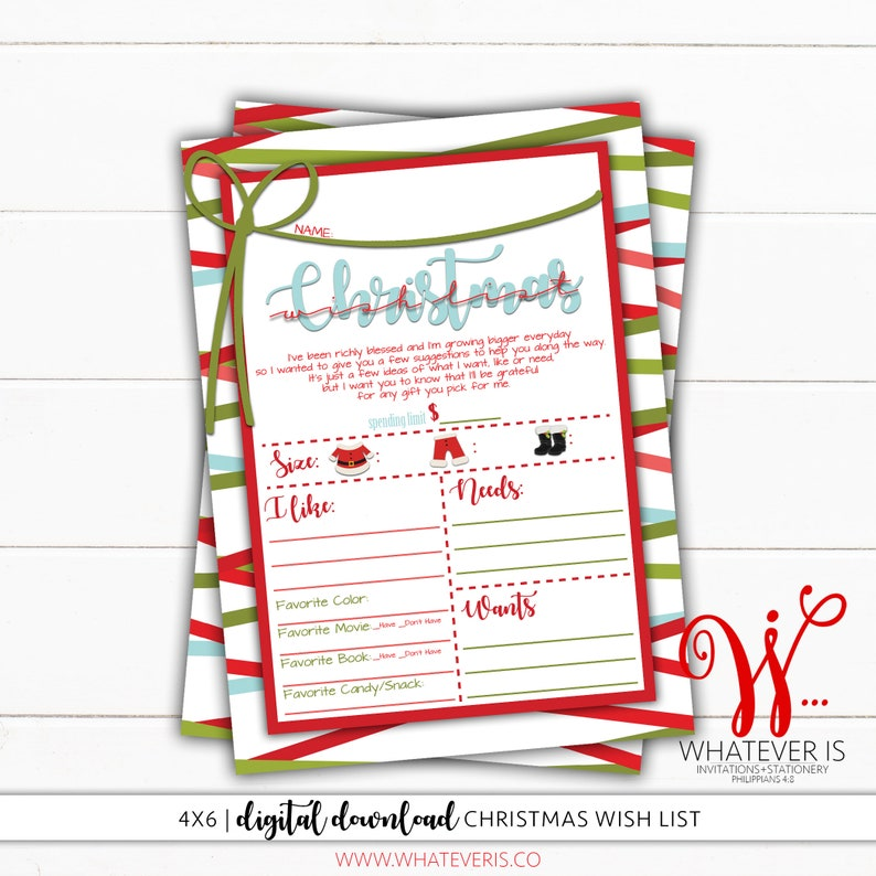 picture relating to Christmas Wish List Printable called 4x6 Xmas Need Record Baby Xmas Want Record Printable Desire Checklist  Xmas Printable Childs Xmas Need Listing Reward Need Record