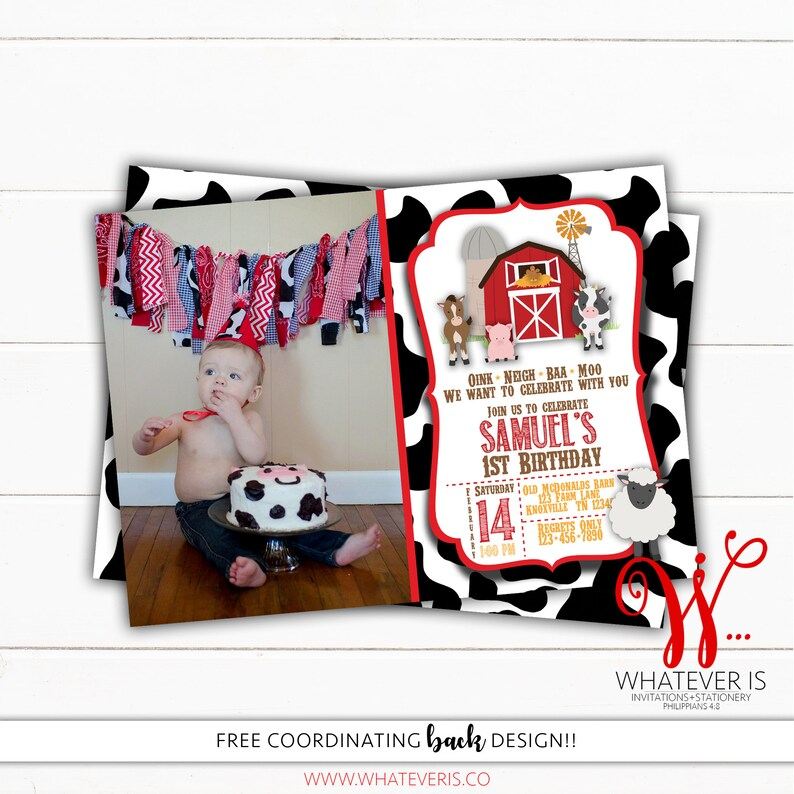 Barnyard Farm Birthday Printable Invitation  Red Farm image 0