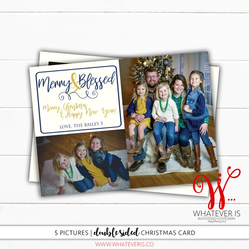 Merry & Blessed Christmas Card  Family Review Christmas Card image 0