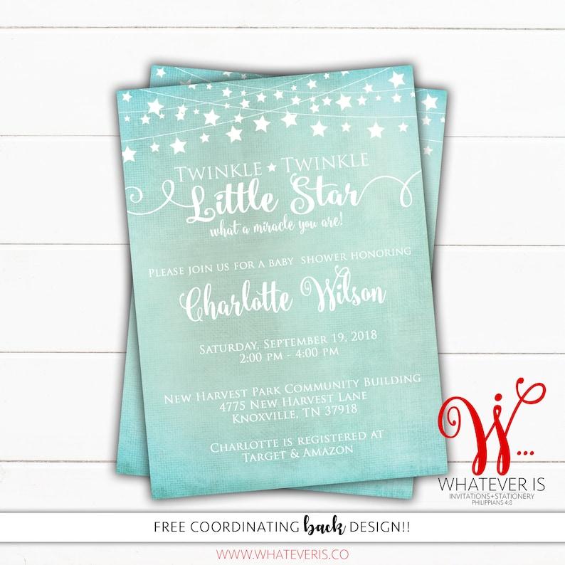 Twinkle Twinkle Little Star Baby Shower Printable Invitation  image 0