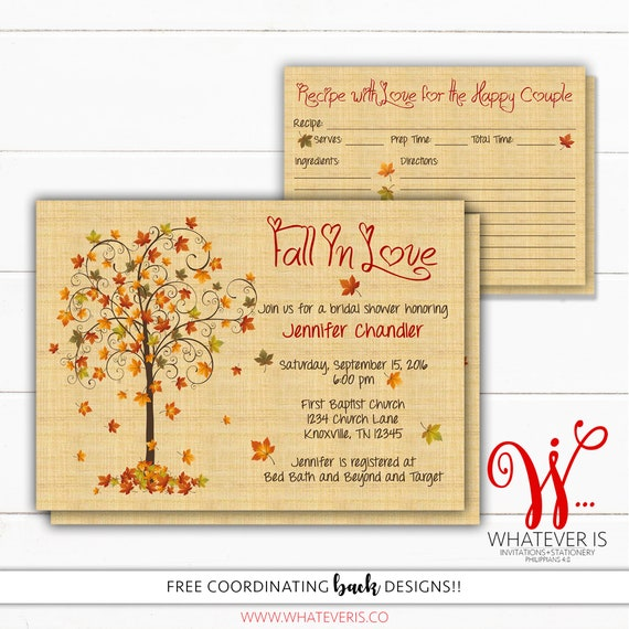 Fall in love bridal shower invitation and recipe card fall etsy image 0 filmwisefo