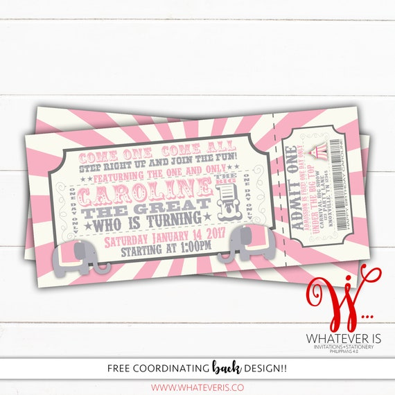 The One And Only Elephant Carnival Ticket Birthday Invitation