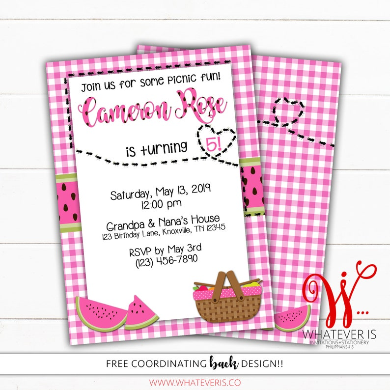 Pink Watermelon Picnic Birthday Printable Invitation  Picnic image 0