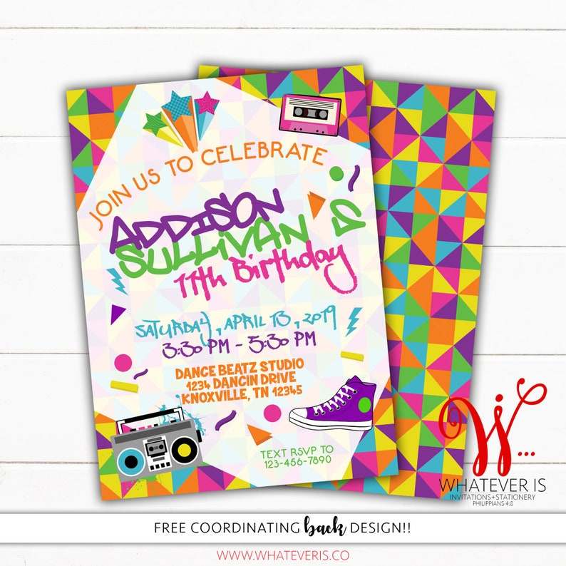 Totally Rad Birthday Invitation  Retro Birthday Invitation  image 0
