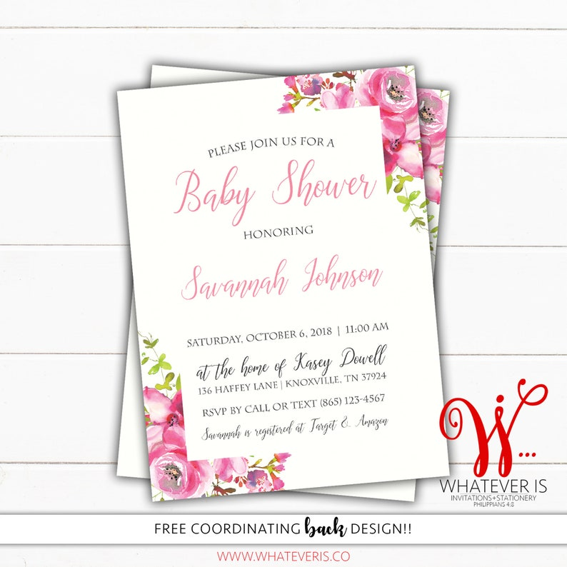 Pink Watercolor Floral Baby Shower Invitation  Pink Floral image 0