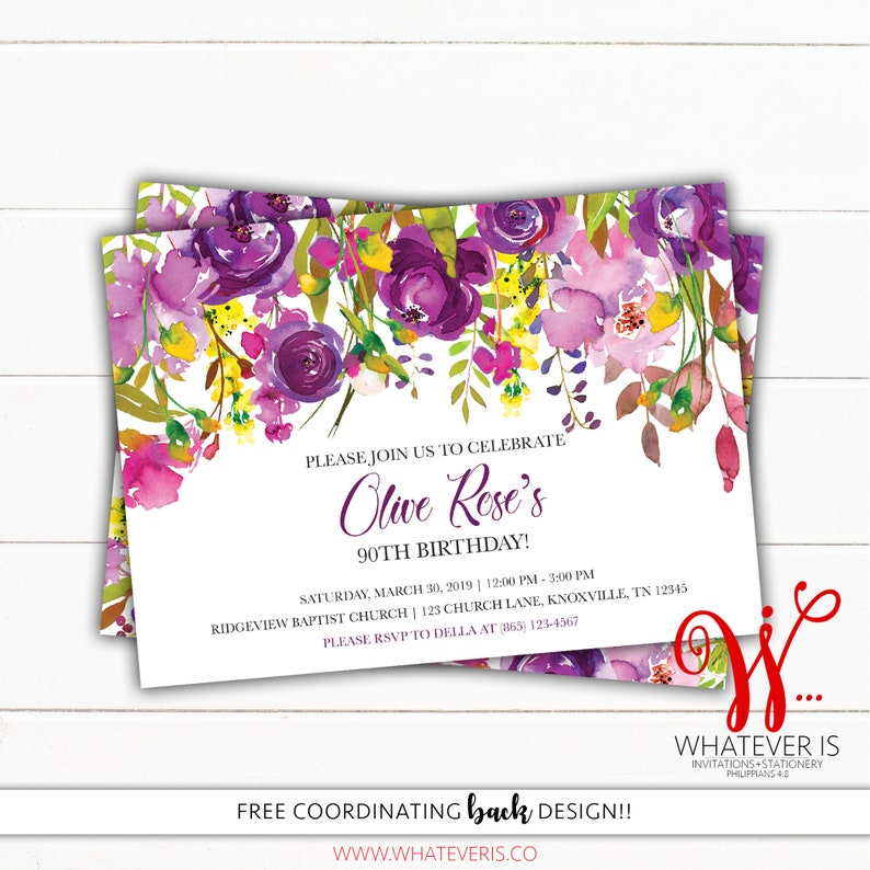 Purple and Yellow Floral Birthday Invitation  Watercolor image 0