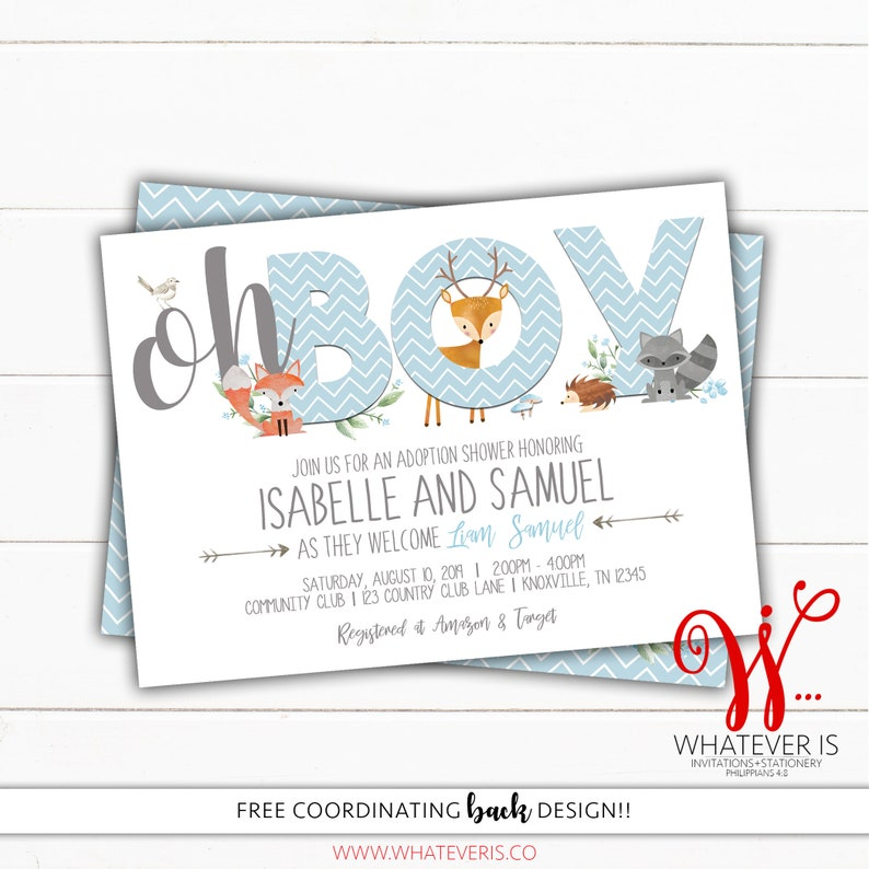 Woodland Boy Baby Shower Invitation  Adoption Baby Shower  image 0