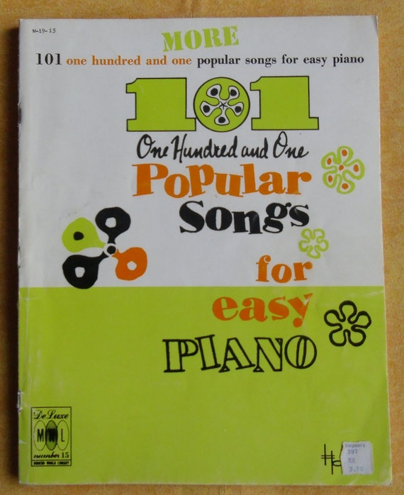 Vintage Music Book - More 101 Popular Songs for Easy Piano, Modern World  Library No  15, 1973 by Charles H  Hansen
