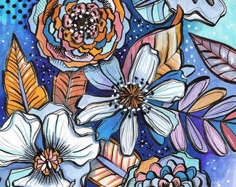Boho Blue - Makewells Floral Art Print