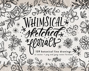 Whimsical Sketched Florals: PERSONAL LICENSE Clipart and Patterns by Makewells