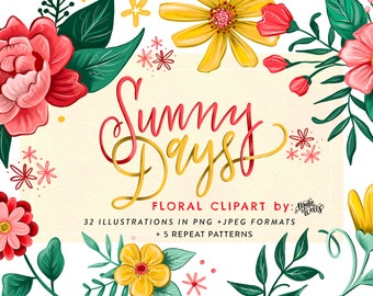 Sunny Days Florals - Personal License: Clipart by Makewells