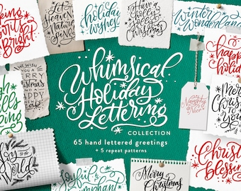 Whimsical Holiday Lettering: Personal License - Clipart and Patterns by Makewells