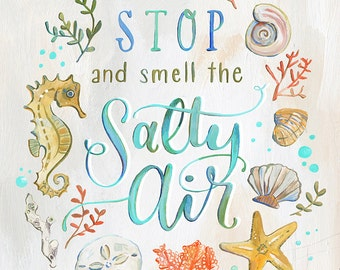 Stop and Smell the Salty Air - Art Print - Ocean Illustration by Makewells