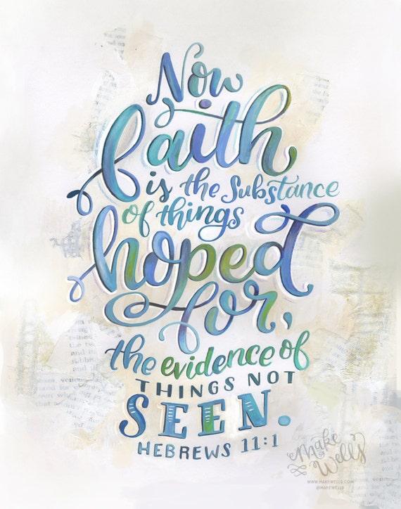 Hebrews 11:1 MakeWells Hand Lettered Art Print | Etsy