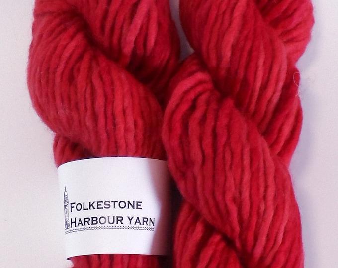 Firecracker Red Super Chunky Corriedale Wool Yarn  17