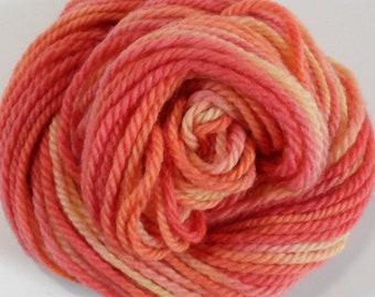 Variegated Madder Cochineal & Turmeric Orange Pink Yellow Cheviot Chunky Yarn 50g
