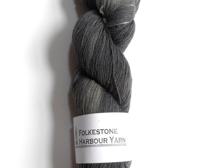 Pearl Grey Wool Yarn Superwash Merino Lace #08 100g