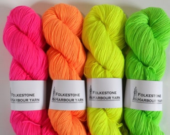 Fluorescent Pink Orange Yellow Green Sock Wool Yarn 100g