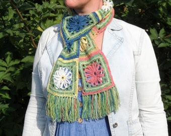 Bouquet Scarf Kit - Easy Crochet with Natural Dye Colours