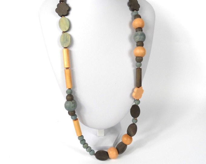 """Chunky Wooden Bead Necklace 28""""       Naturally Dyed       Assymmetric Pink Blue & Brown"""
