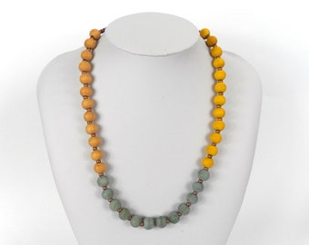 """Chunky Wooden Bead Necklace 20""""      Naturally Dyed       Yellow Blue & Orange"""