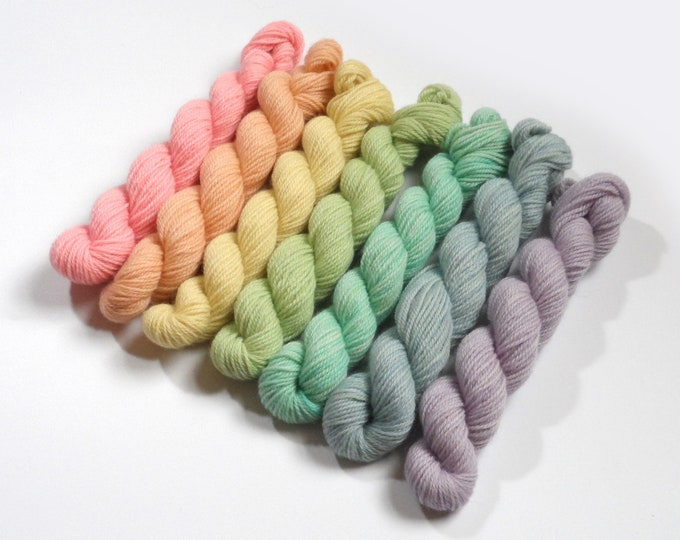 DK 175g Pastel Rainbow Semi-solid Mini Skein Set           25g each colour