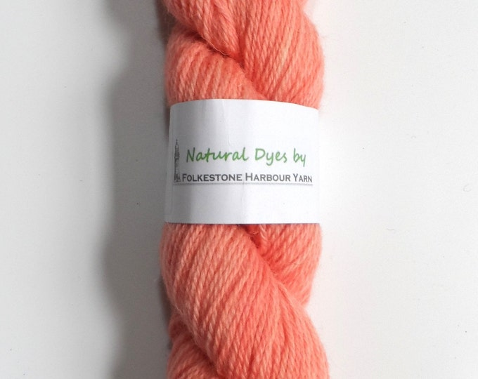 Cochineal & Madder Blush Pink on Romney DK Wool 50g