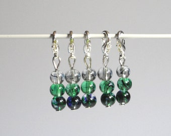 Green Gradient Marble Glass Stitch Markers Set of 5