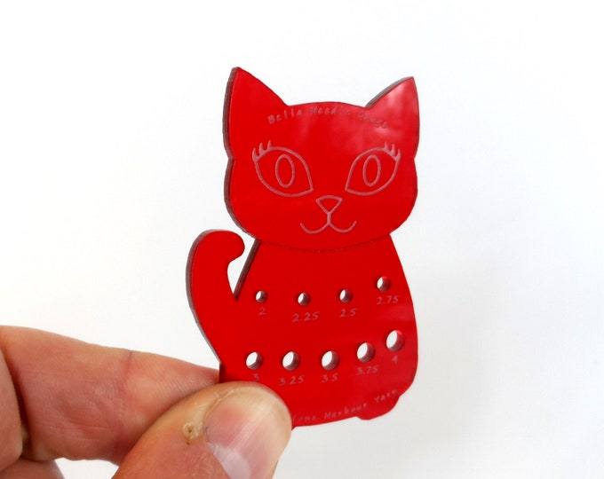 Bella Cat Mini Knitting Needle Gauge Metric  Red Translucent