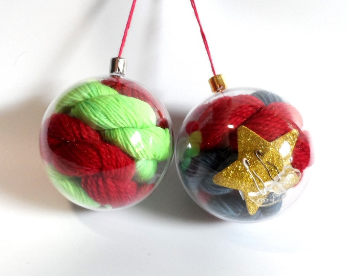 Christmas Tree Baubles filled with 20g Sock Yarn Stitch Markers and Free Pattern