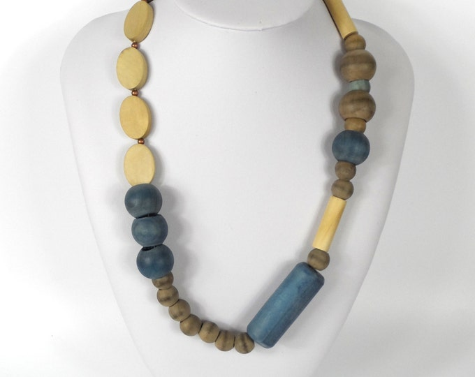 """Chunky Wooden Bead Necklace 20""""       Naturally Dyed       Assymmetric Blue & Brown"""
