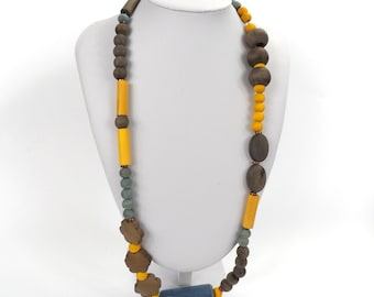 "Chunky Wooden Bead Necklace 28""       Naturally Dyed       Assymmetric Yellow Blue & Brown"