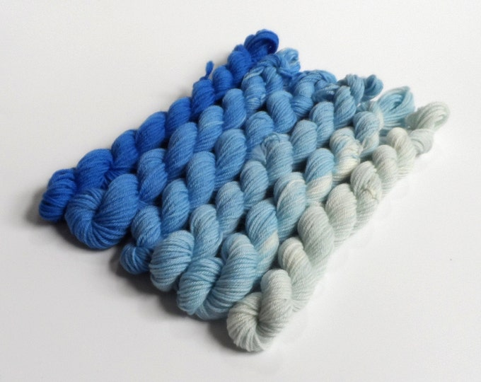 Blue Semi Solid Gradient Mini Skein Set Sock 4 ply 60g