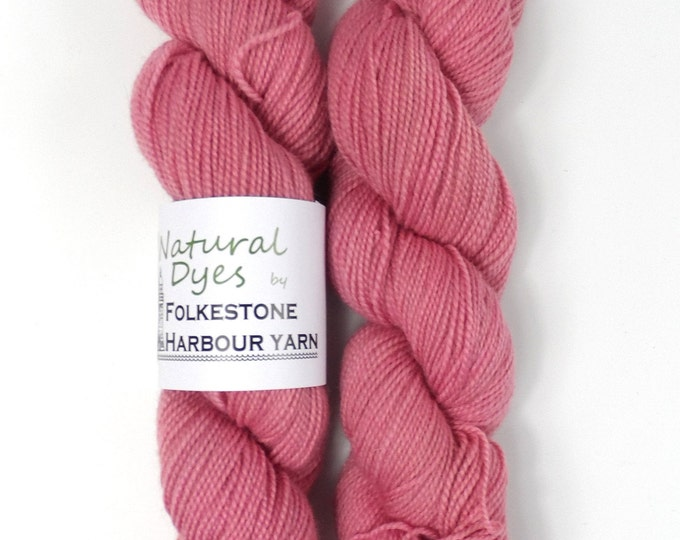 Cochineal Raspberry Pink Natural Dye Sock 4ply Yarn 50g #57