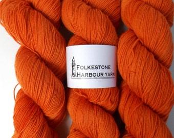 Saffron Orange Merino Blend Sock Wool Yarn 22