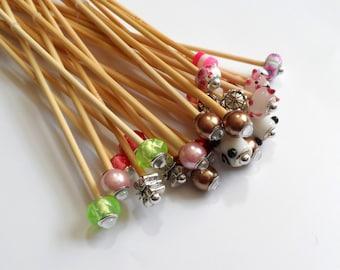 3.25mm up to 3.75mm Metric Sizes Handmade Beaded Bamboo Knitting Needles