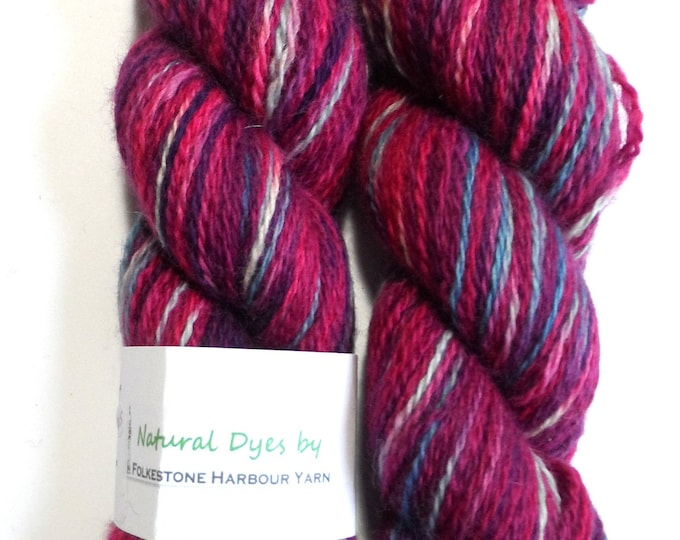 Indigo and Cochineal Variegated BFL Sock 50g Blue Faced Leicester Red Purple
