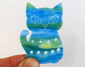 Bella Cat Mini Knitting Needle Gauge Metric  Turquoise & Green swirl