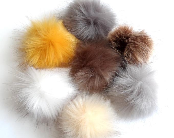 Fake Fur Pom Poms Neutrals Brown Cream Yellow