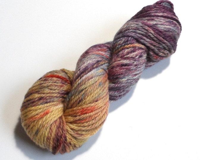 Speckled Iris Chunky Merino Wool Yarn 100g Purple Yellow Blue