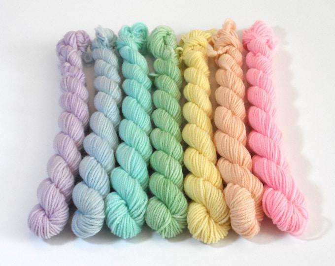 Pastel Rainbow Semi-solid Mini Skein Set 70g