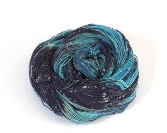 Celestial Variegated Blue Merino and Tweed Sock Yarn 100g