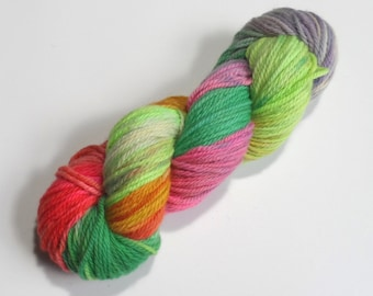 Tropical Variegated Aran Merino Yarn 100g Green Pink Orange Lilac Yellow Superwash