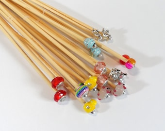 4mm up to 4.5mm Metric Sizes Handmade Beaded Bamboo Knitting Needles