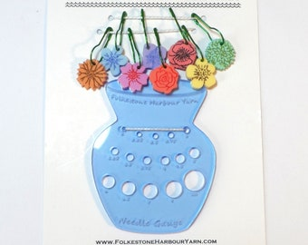 Vase of Flowers Needle Gauge & Stitch Marker Set