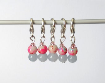 Pink and Blue Glass Stitch Markers Set of 5