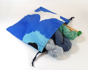 "Marimekko Unikko Drawstring Pouch in Blue Black and White size Large 12"""