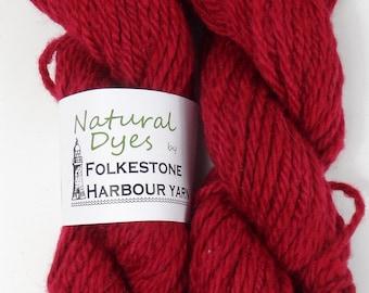 Raspberry Red Cochineal Corriedale Chunky Yarn 50g #65