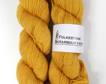 Orpiment Mustard Yellow Merino Blend Sock Wool Yarn 21