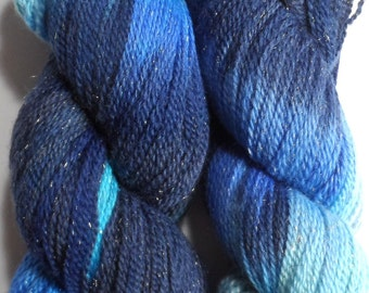 Celestial Variegated Blue Merino and Gold Stellina Sock Yarn 100g